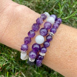 Moonstone and Diamond Cut Amethyst Skinny Stacker Bracelet (6mm beads)