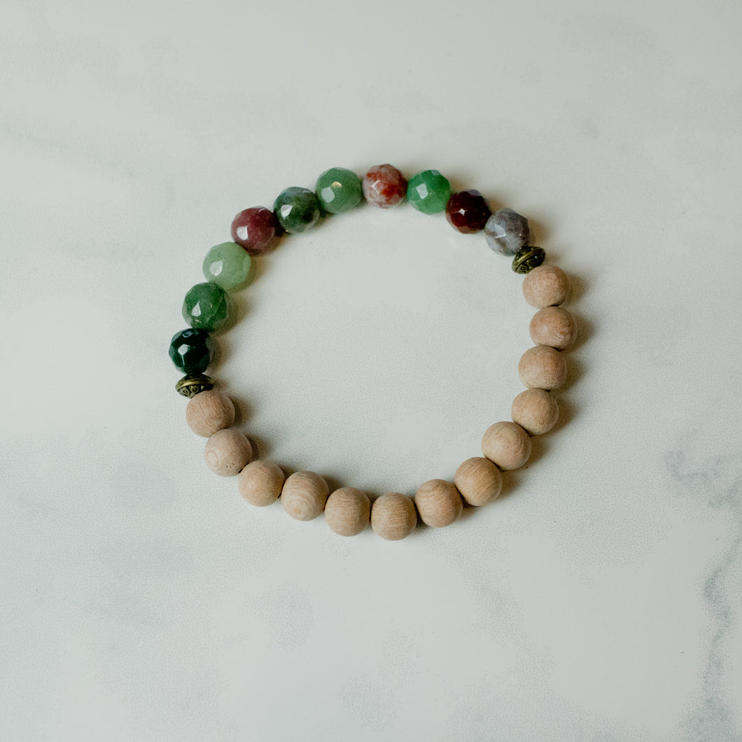 Rosewood and Fancy Jasper Aromatherapy Essential Oil Diffuser Bracelet (8mm beads)