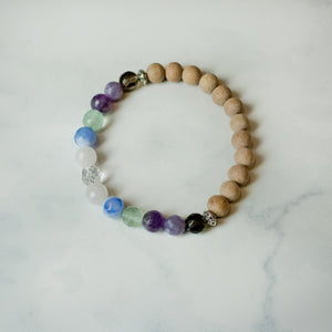 Rosewood and Gemstone Aromatherapy Essential Oil Diffuser Bracelet (8mm beads)