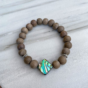 Abalone Shell & Graywood Aromatherapy Essential Oil Diffuser Bracelet (8mm beads)