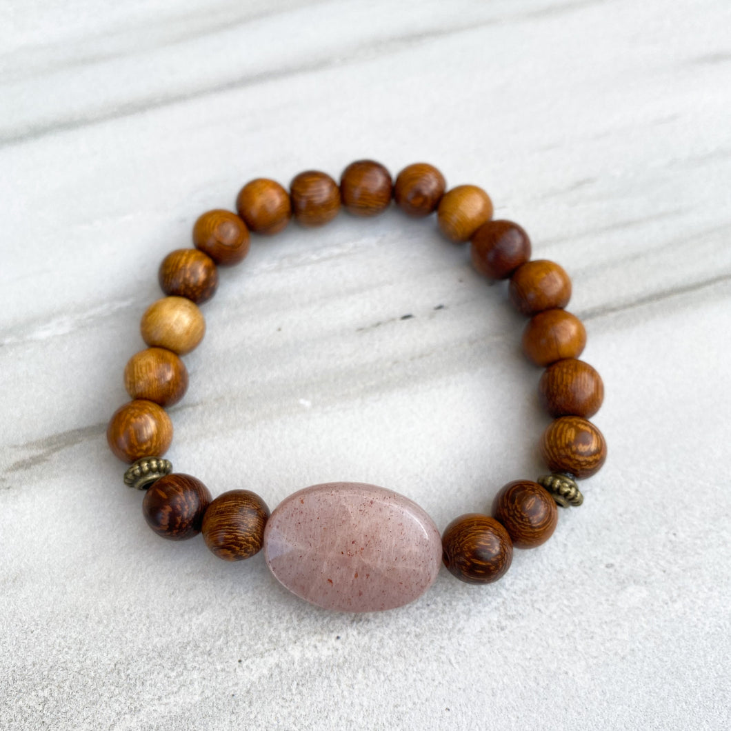 Sunstone & Madre de Cacao Wood Bracelet (8mm beads)