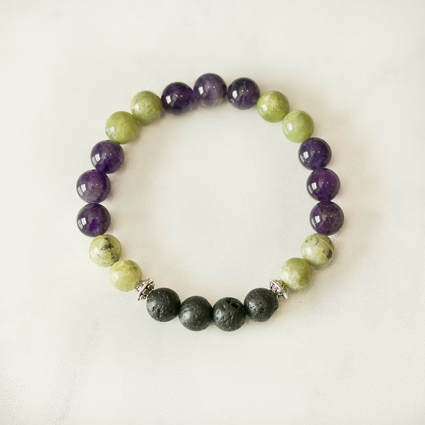 Peridot & Amethyst Aromatherapy Essential Oil Diffuser Bracelet (8mm beads) 1