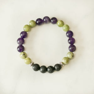 Peridot & Amethyst Aromatherapy Essential Oil Diffuser Bracelet (8mm beads)