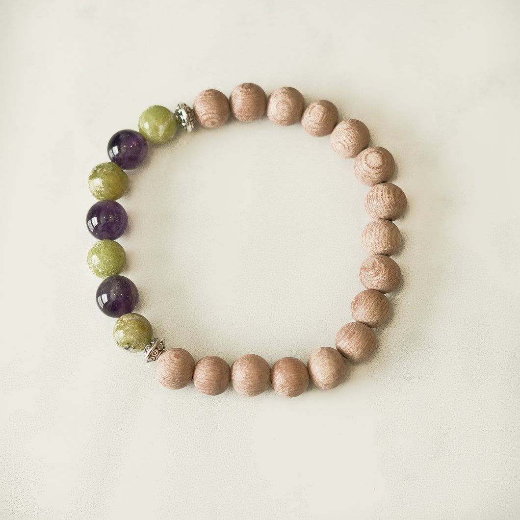 Peridot & Amethyst Rosewood Aromatherapy Essential Oil Diffuser Bracelet (8mm beads)