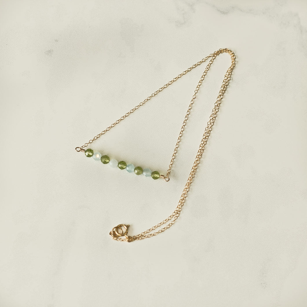 Peridot & Aquamarine Gemstone Bar Necklace