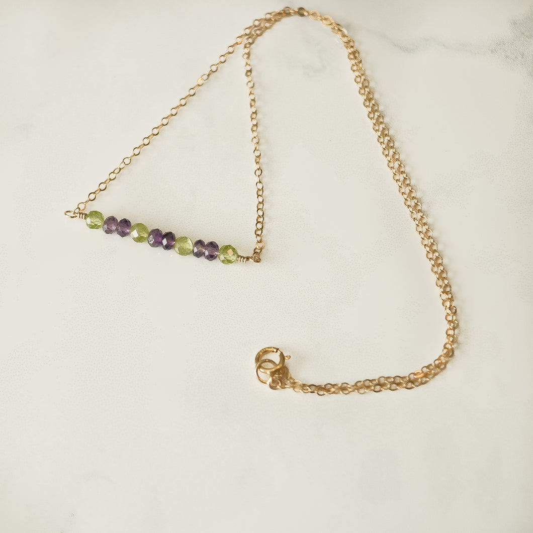 Peridot & Amethyst Gemstone Bar Necklace