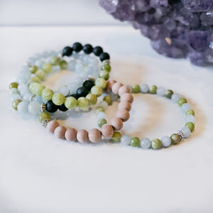 Peridot & Aquamarine Rosewood Aromatherapy Essential Oil Diffuser Bracelet (8mm beads)