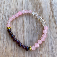 Garnet, Rose Quartz and Clear Quartz Skinny Stacker Bracelet (6mm beads)
