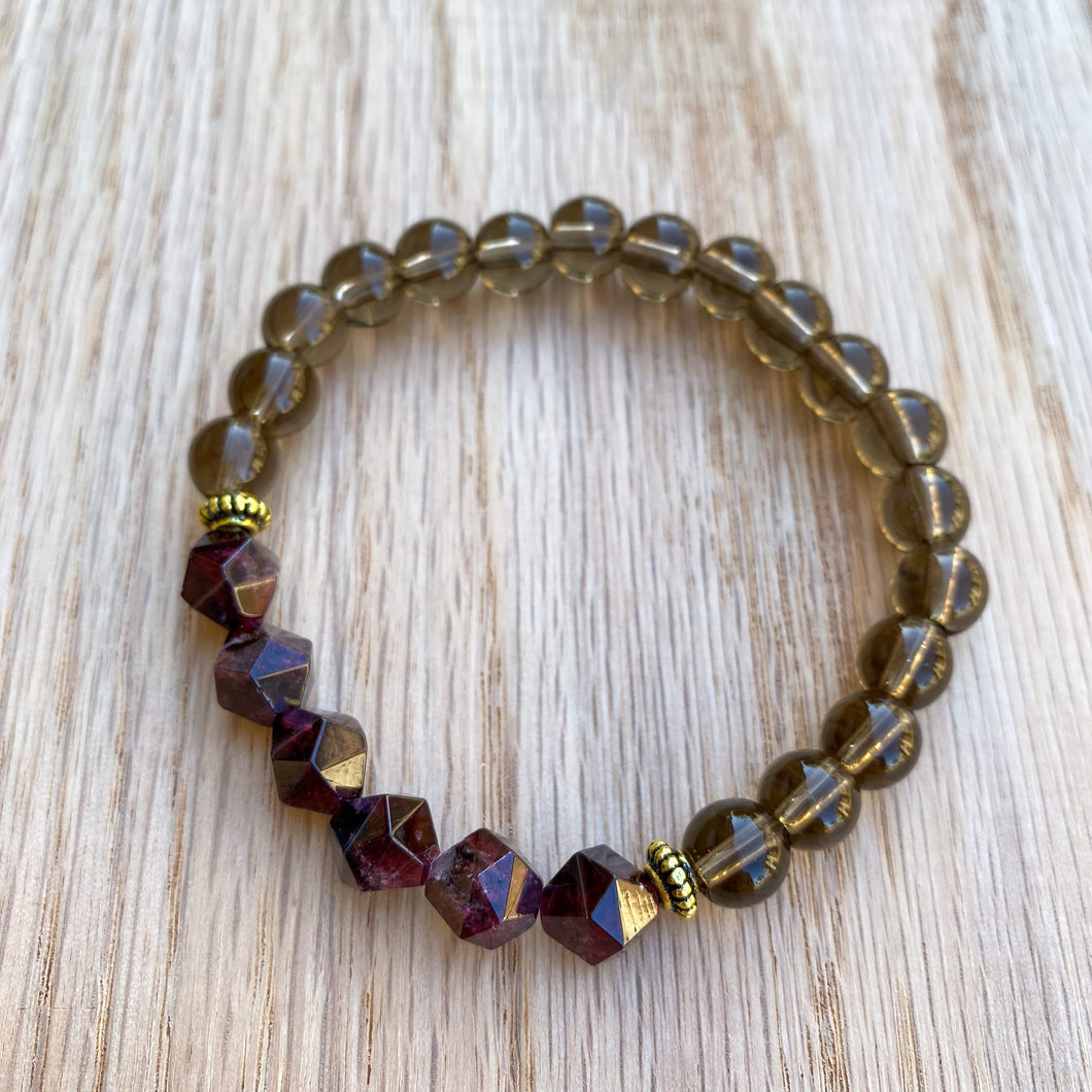 Garnet and Smoky Quartz Bracelet (8mm beads)