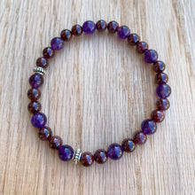 Garnet and Amethyst Skinny Stacker Bracelet (6mm beads)