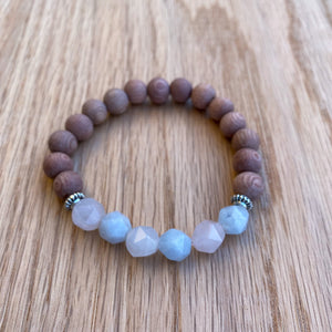 Diamond Cut Beryl Rosewood Aromatherapy Essential Oil Diffuser Bracelet (8mm beads)