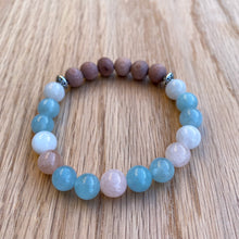 Aquamarine, Moonstone & Morganite Rosewood Aromatherapy Essential Oil Diffuser Bracelet (8mm beads)