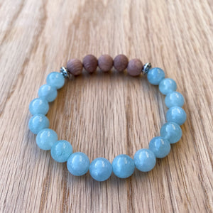 Aquamarine and Rosewood Aromatherapy Essential Oil Diffuser Bracelet