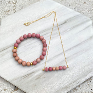 Rhodonite (Matte) and Rosewood Aromatherapy Essential Oil Diffuser Necklace