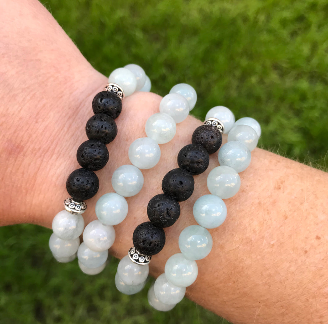 aromatherapy bracelet, aquamarine, lava rock bracelet, march birthstone