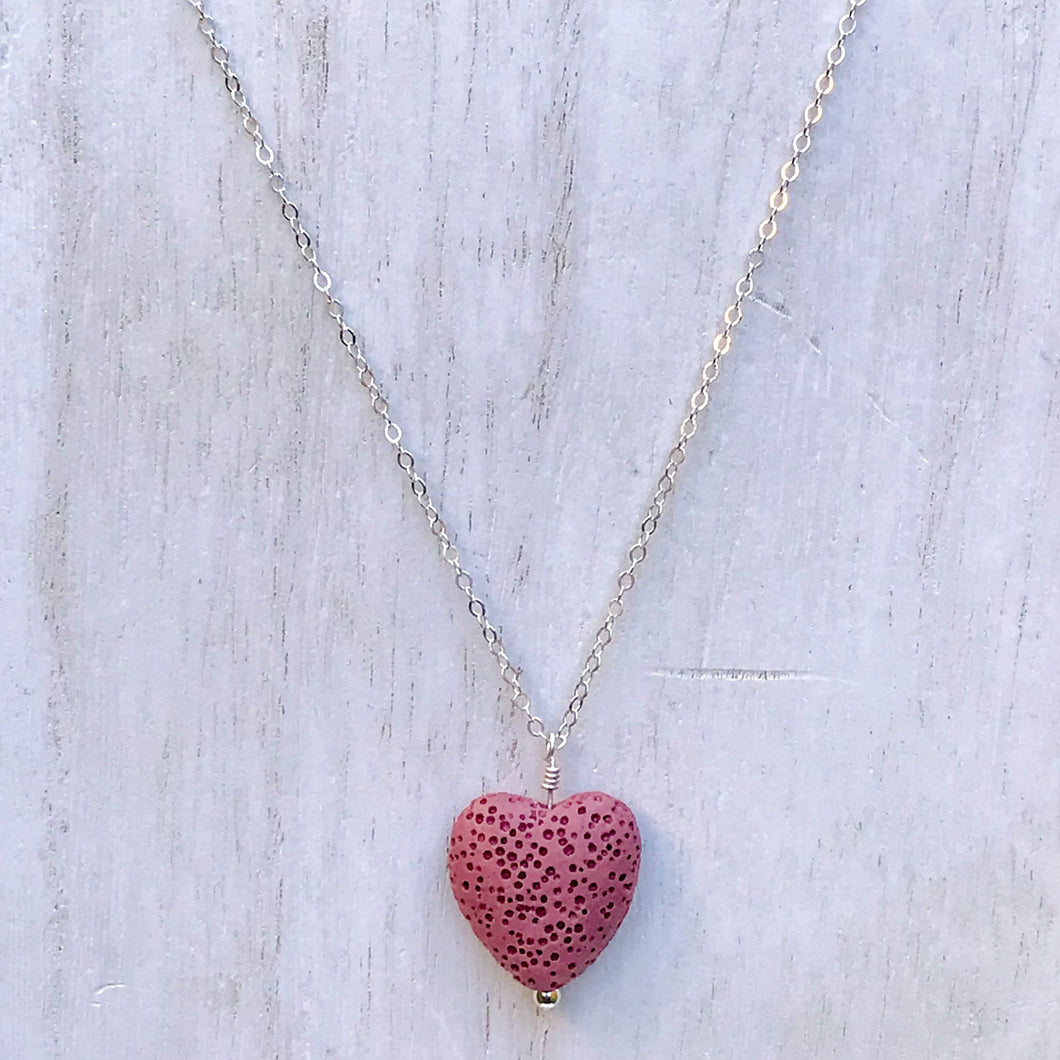 lava heart necklace, diffuser necklace, aromatherapy necklace