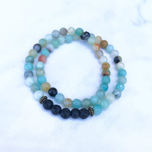 Amazonite Aromatherapy Essential Oil Diffuser Wrap Bracelet (6mm beads)