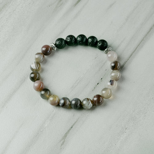 Botswana Agate Aromatherapy Essential Oil Diffuser Bracelet (8mm beads)