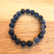 Black Stripe Agate (Matte) Aromatherapy Essential Oil Diffuser Bracelet (10mm beads)