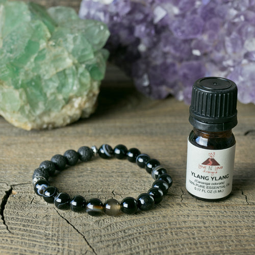 Black Stripe Agate Aromatherapy Essential Oil Diffuser Bracelet (8mm Beads)
