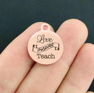 Rose Gold Teacher Charm Option