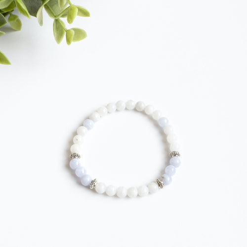 Moonstone and Blue Chalcedony Skinny Stacker Bracelet (6mm beads)