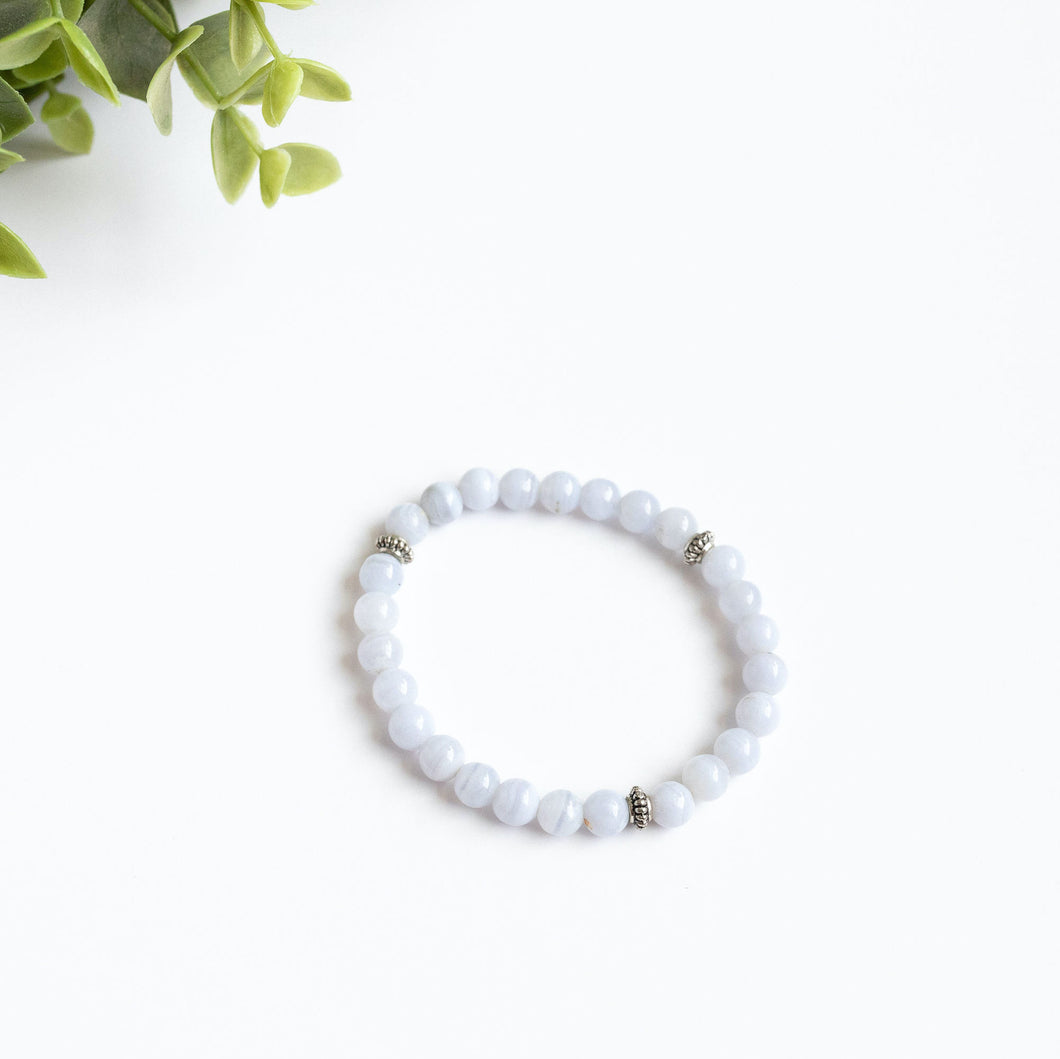 Blue Chalcedony Skinny Stacker Bracelet (6mm beads)