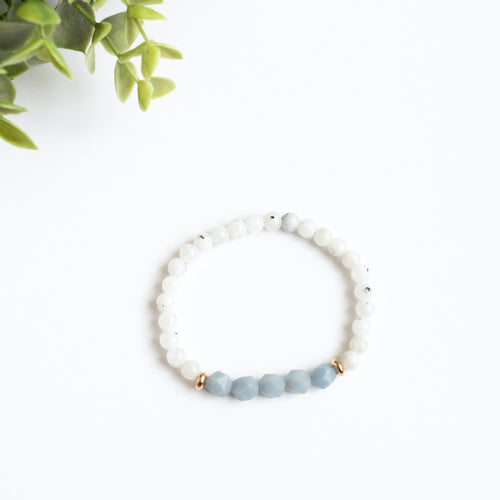 Moonstone and Angelite Skinny Stacker Bracelet (6mm beads)