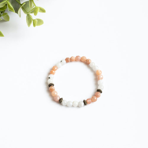 Moonstone and Sunstone Skinny Stacker Bracelet (6mm beads)