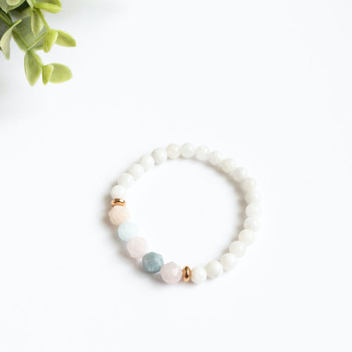 Moonstone and Beryl Skinny Stacker Bracelet (6mm beads)