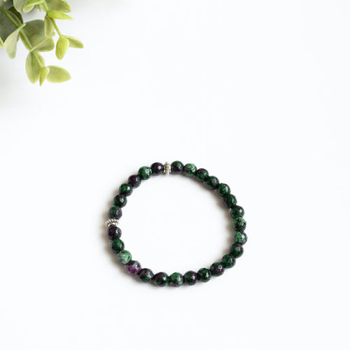 Faceted Ruby in Zoiste Skinny Stacker Bracelet (6mm beads)