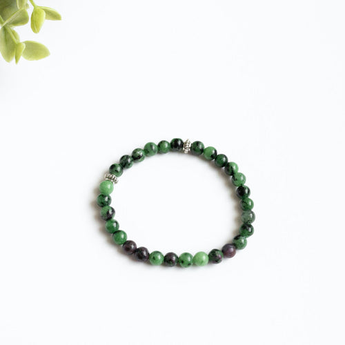Ruby in Zoisite Skinny Stacker Bracelet (6mm beads)
