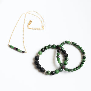 Ruby in Zoisite Bar Necklace