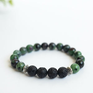 Ruby in Zoisite Aromatherapy Essential Oil Diffuser Bracelet (8mm beads)