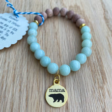 Mama Bear Gold Charm Amazonite & Rosewood Aromatherapy Essential Oil Diffuser Bracelet (8mm beads)