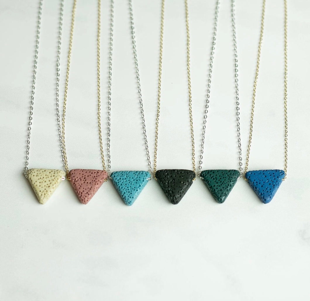 Triangle Lava Stone Essential Oil Diffuser Necklace