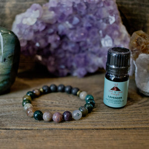 Indian Agate Aromatherapy Essential Oil Diffuser Bracelet (8mm beads)