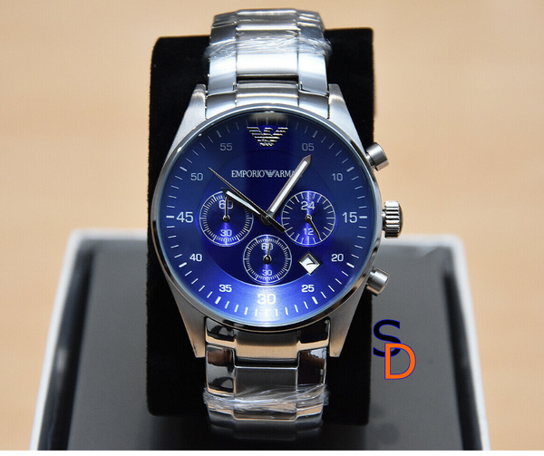 Emporio Armani Stainless Blue Dial Chronograph Watch - sellys-discount-store