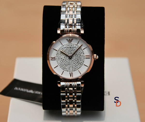 EMPORIO ARMANI TWO TONE GIANNI T-BAR WATCH - sellys-discount-store