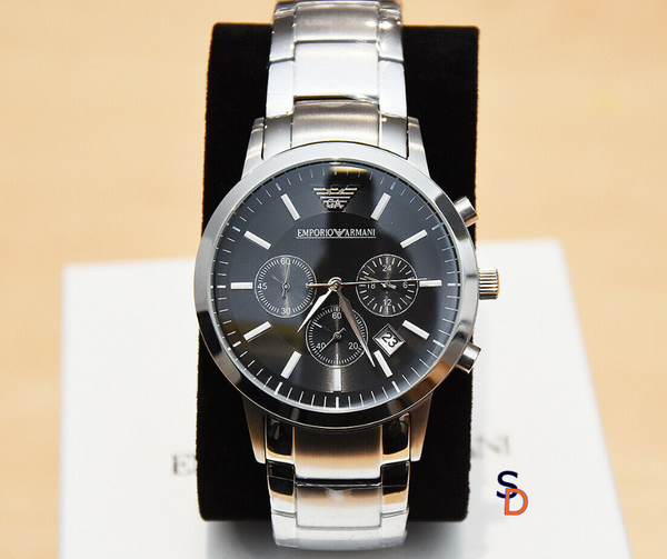 EMPORIO ARMANI MENS WATCH BLACK DIAL STAINLESS STEEL - sellys-discount-store
