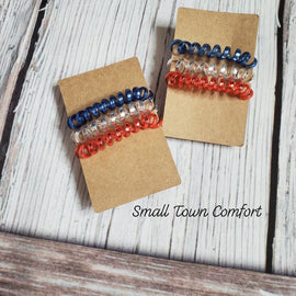 Set of 3 Patriotic Hair Coils