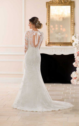 detailed sleeve and back wedding dress