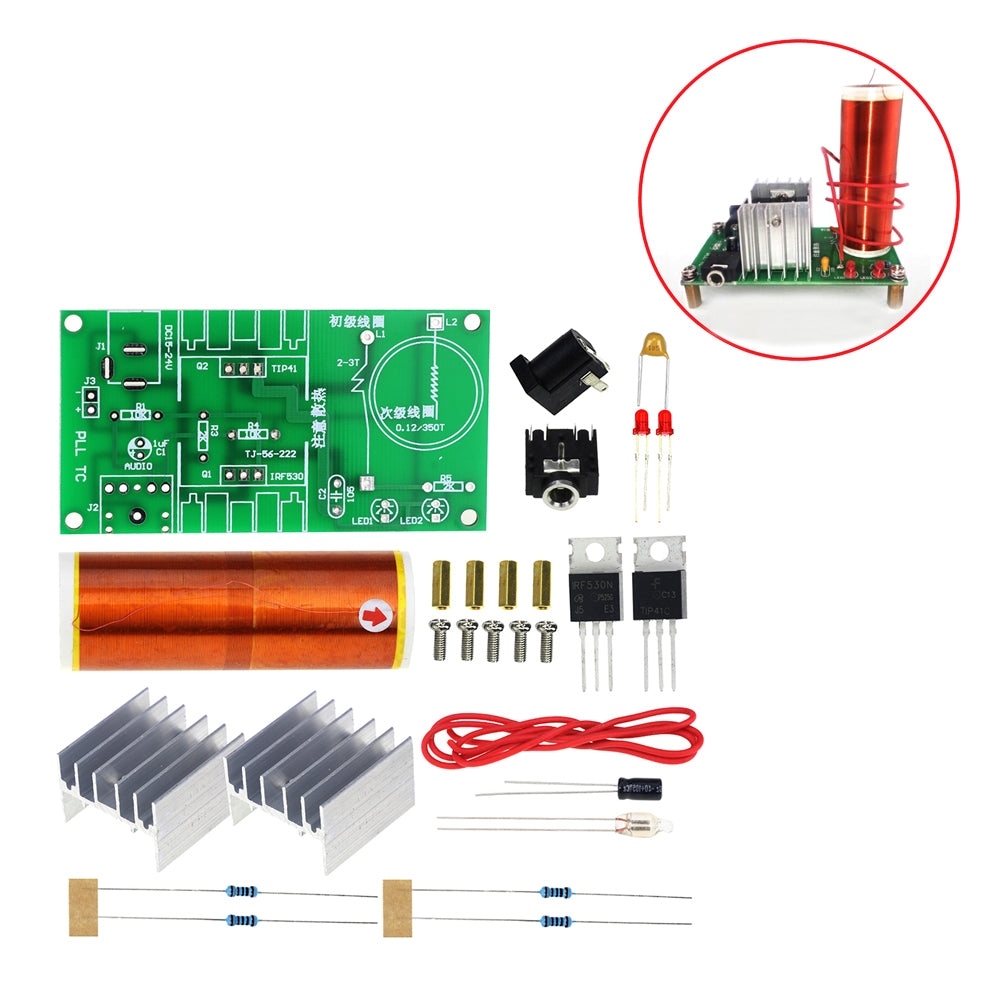 1 Set Mini Tesla Coil Kit 15W Mini Music Tesla Coil Plasma Speaker Tesla Wireless Transmission DC 15-24V DIY Kits
