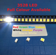 Load image into Gallery viewer, 100pcs 3528 LED SMD White Chip PLCC Ultra Bright Surface Mount 20mA 3V 7-8LM Light-Emitting Diode LED 1210 SMT Lamp Light Red