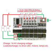 Load image into Gallery viewer, 14.4V 100A BMS 3.2V 4S Li-ion LiFePO4 LiFe LMO Lithium Protection Circuit Board PCB for 18650 Battery Packs Charger Battery