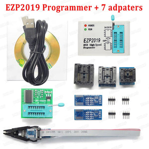 2019 Newest EZP2019 High-Speed USB SPI Programmer+5 Adapters Support 24 25 93 EEPROM 25 Flash Bios Chip