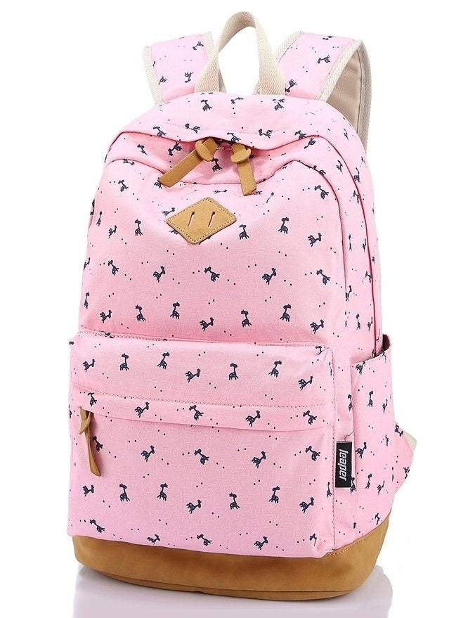 DI Lightweight Canvas Laptop Backpack Cute School Bag Floral Wisteria Bag