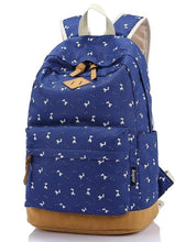 Load image into Gallery viewer, DI Lightweight Canvas Laptop Backpack Cute School Bag Floral Wisteria Bag