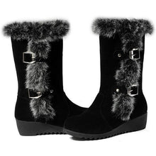 Load image into Gallery viewer, Plus Size 33-43 Women Wedges Shoes Fashion Warm Winter Rubbit Hair Boots Mid Calf Faux Rabbit Fur Snow Boots  DMG