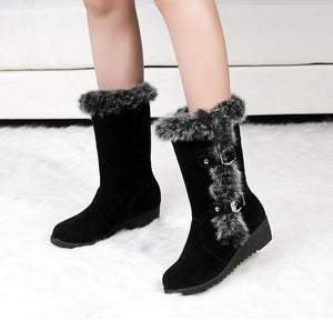 Plus Size 33-43 Women Wedges Shoes Fashion Warm Winter Rubbit Hair Boots Mid Calf Faux Rabbit Fur Snow Boots  DMG